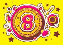 Illustration of cake with sweets and cup of tea with red. Number eight on yellow background with star and heart. Hand drawn line art design for web, site Stock Images