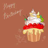 Illustration of cakes with Happy Birthday Stock Image