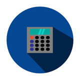 Illustration is a calculator icon. Can be used for media. Illustration is a calculator icon in the Circle.Can be used for media Stock Image