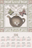 Illustration calendar for 2016 with cute pot. Illustration calendar for 2016 in kitchen design with cute pot vector illustration