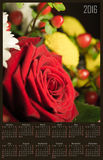 Illustration calendar for 2016 in design with branch of red rose. Illustration calendar for 2016 in floral design with branch of red rose Royalty Free Stock Images