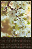 Illustration calendar for 2016 in floral design with cherry blos. Illustration calendar for 2016 in floral design with white cherry blossom Stock Image