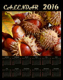 Illustration calendar for 2016 in floral design leaves and chest. Illustration calendar for 2016 in floral design autumn leaves and chestnuts Stock Images