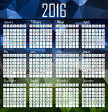 Illustration calendar for 2016 in geometrical design Stock Photo