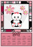 Illustration calendar for 2017 in kids design with cute cat kitt. Illustration calendar for 2017 in kids design with toy cute cat kitten Royalty Free Stock Photos