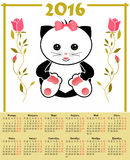 Illustration calendar for 2016 in kids design with toy cute cat. Kitten russian language Stock Photography