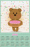 Illustration calendar for 2016 in kids toys design with cute ted Stock Photo