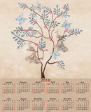 Illustration calendar for 2016 retro with birds and tree. Illustration calendar for 2016 in retro colors with birds and tree stock illustration