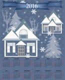 Illustration calendar for 2016 retro with winter illustration Royalty Free Stock Image