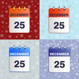 Illustration of calendar sheet 25 Dec. Christmas vector icon. Festive template can be used for any design. Square location. Wall calendar on celebratory Royalty Free Stock Image