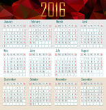 Illustration calendar for 2016 in simple design. Illustration calendar for 2016 in geometrical simple design Stock Image
