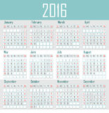 Illustration calendar for 2016 in simple design. And pastel colors Stock Images