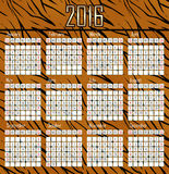 Illustration calendar for 2016 in tiger skin design Stock Photos