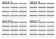 Calendar 2014 to 2017 Royalty Free Stock Photos