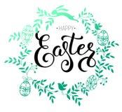 Illustration calligraphique manuscrite heureuse de vecteur de Pâques avec W Photographie stock