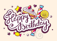 Illustration of calligraphy text happy birthday with swee Stock Image