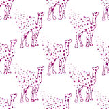 Illustration. Camel with stars. Sketch seamless pattern. Royalty Free Stock Image