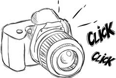 Illustration of camera in sketch style Royalty Free Stock Images