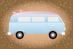 Retro van with surfboard framed by peace-signs in blue. Illustration of a camper with surfboard on the car roof in retro style framed by peace-signs Stock Photo