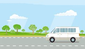 Camper van on highway Royalty Free Stock Image