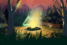 Illustration of a campfire Royalty Free Stock Images