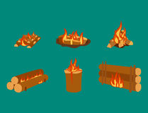 illustration of campfire logs burning bonfire and firewood stack vector. Wood explosion glowing nature blazing power. Flammable yellow glowing sparks warm Stock Images