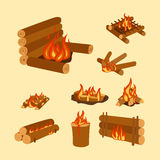 illustration of campfire logs burning bonfire and firewood stack vector. Wood explosion glowing nature blazing power. Flammable yellow glowing sparks warm Royalty Free Stock Images