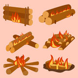 illustration of campfire logs burning bonfire and firewood stack vector. Wood explosion glowing nature blazing power. Flammable yellow glowing sparks warm Stock Photo