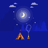 Illustration of campfire and tent Royalty Free Stock Photography