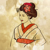 Background with a geisha Stock Photography