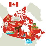 Illustration of Canada map. Canadian traditional symbols and attractions stock illustration