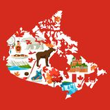 Illustration of Canada map. Canadian traditional symbols and attractions royalty free illustration