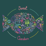 Illustration of  candies set. Set of candies, cakes, sweets, ice cream and desserts in doodle style. Hand drawn vector illustrations. Illustration of  sweet Royalty Free Stock Photo