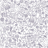 Illustration of  candies set. Seamless pattern with candies, cakes, sweets, ice cream and desserts in doodle style. Hand drawn vector illustrations. Sweet Stock Photos