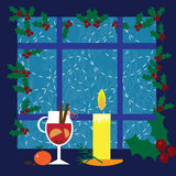 Illustration with candle, mulled wine on the window Stock Images