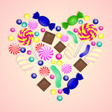 Illustration of candy heart on pink background. Royalty Free Stock Photography
