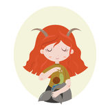 Illustration of Capricorn astrological sign as a beautiful girl. Vector art. Cute horoscope. Zodiac signs. Capricorn. Series of cartoon zodiac characters Royalty Free Stock Photo