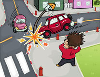 Illustration of a car accident at the crossroads. Stock Photo