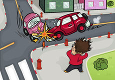Illustration of a car accident at the crossroads. Crash and frightened man at the crossroads Stock Photography