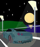 Illustration car in the middle of road night Royalty Free Stock Image