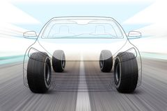 Illustration of car on the road. 3D illustration of car like outline on road with high speed vector illustration