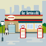 Illustration of the car service and oil products with cute dog. Illustration of the car service and oil with cute dog Royalty Free Illustration