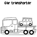 Illustration of car transporter vector. Hand draw Royalty Free Stock Photos
