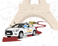 Illustration of car, travel and people. Royalty Free Stock Photography