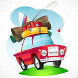 Illustration of a car traveling on the topic. Vector illustration on the theme of travel and recreation. The red car with the luggage Stock Image