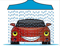 Illustration of a car wash with a shower pouring f Stock Images