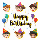 Happy Birthday. Beautiful Kids greeting funny. Illustration card. Happy Birthday. Beautiful Kids greeting funny Character & Birthday Party Invitation Card Stock Image