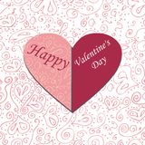 Illustration card heart on a patterned background. Happy Valentine's Day - vector Royalty Free Stock Photos