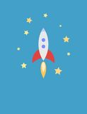 Illustration for Card with Rocket in Space Royalty Free Stock Photo