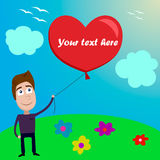 Illustration card of Valentine's day with boy. Additional format EPS 8.0 Royalty Free Stock Photo